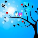 Постер, плакат: Tree Owls Represents Birds In Flight And Reforestation