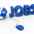Internet Jobs Indicates World Wide Web And Planet — Stock Photo