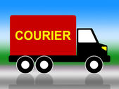 Delivery Courier Indicates Trucking Postage And Vehicle — Stok fotoğraf