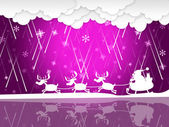 Xmas Rain Shows Santa Claus And Christmas — 图库照片