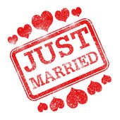 Just Married Means Tenderness Devotion And Wed — 图库照片