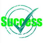 Tick Success Shows Progress Checkmark And Correct — Stock Photo