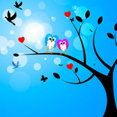 Tree Owls Represents Birds In Flight And Reforestation — Foto de Stock