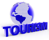 Tourism Global Shows Voyages Visiting And Planet — Stock Photo
