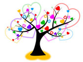 Heart Tree Indicates Valentines Day And Forest — Foto de Stock