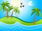 Tropical Island Means Flock Of Birds And Atoll — Stock Photo