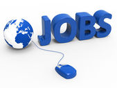 Internet Jobs Indicates World Wide Web And Planet — Stockfoto