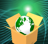 Delivery World Indicates Sending Global And Post — Stok fotoğraf