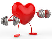 Weights Heart Shows Get Fit And Aerobic — 图库照片