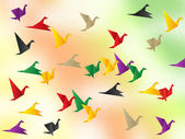 Freedom Flying Shows Flock Of Birds And Escaped — Stock Photo