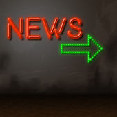 Neon News Indicates Glow Bright And Information — Stock Photo