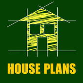 Plans House Shows Household Drafting And Homes — Stock Photo