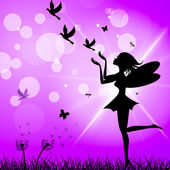 Freedom Fairy Represents Flock Of Birds And Elude — Stock Photo