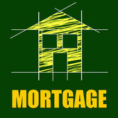 House Mortgage Shows Borrow Money And Apartment — Stockfoto