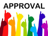 Thumbs Up Means Approved Recommend And Passed — Stock Photo