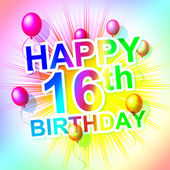 Happy Birthday Indicates Sixteen 16Th And Celebrate — Stock Photo