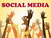 Social Media Means Hands Together And Facebook — Stockfoto