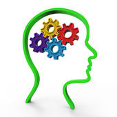 Think Brain Represents Considering Thinking And About — Stock Photo