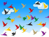 Flying Freedom Indicates Flock Of Birds And Escaped — Stock Photo