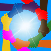 Holding Hands Indicates Unity Friends And Togetherness — Stock Photo