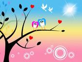 Sun Owls Indicates Tree Trunk And Treetop — Stock Photo
