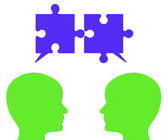 Speech Bubble Means Jigsaw Puzzle And Assemble — Stock Photo