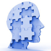 Jigsaw Head Represents Plans Person And Piece — Stock Photo