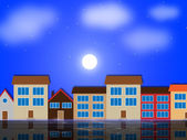 Moon Houses Shows Night Time And Apartment — Stock Photo