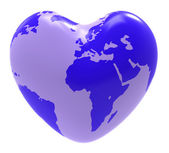 Globe Heart Indicates Valentine Day And Globalisation — Stock Photo