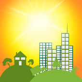 Sun Eco Shows Go Green And City — Stock Photo