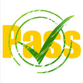 Tick Pass Shows Check Confirm And Approval — 图库照片