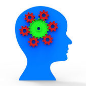 Brain Think Shows Head Concept And Contemplating — Stock Photo