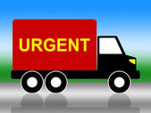Truck Urgent Shows Critical Freight And Transporting — Stock Photo