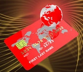 Credit Card Represents Globalise Bankcard And Planet — Stock Photo