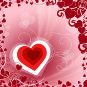 Red Heart Indicates Valentines Day And Background — Stock Photo