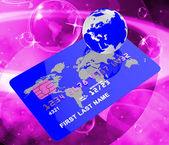 Credit Card Represents Bankcard Globalisation And Planet — Stock Photo