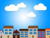 City Houses Shows Habitation Building And Solar — Stock Photo