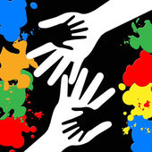 Holding Hands Represents Paint Colors And Bonding — Stockfoto