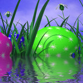 Easter Eggs Represents Green Grass And Environment — Stock Photo