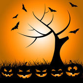 Bats Tree Means Trick Or Treat And Autumn — Stockfoto