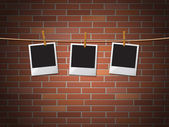 Photo Frames Represents Blank Space And Bricks — Stock Photo