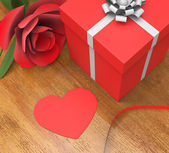 Gift Card Indicates Heart Shape And Flora — Stock Photo