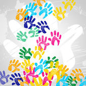 Handprints Color Indicates Drawing Artwork And Colors — Stock Photo