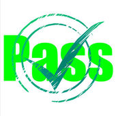 Pass Tick Indicates Yes Passing And Approve — Stock Photo