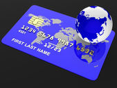 Credit Card Represents Debit Purchase And Globalise — Zdjęcie stockowe
