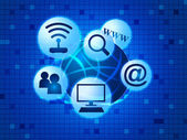 Social Media Indicates World Wide Web And Communicate — ストック写真
