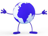 Character World Means Earth Globally And Worldly — Stock Photo
