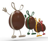 Easter Eggs Shows Gift Bow And Choc — Stock Photo