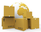 World Worldwide Means Globalisation Freight And Worldly — Stock Photo