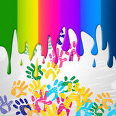 Color Handprints Represents Childhood Multicoloured And Colors — Stok fotoğraf